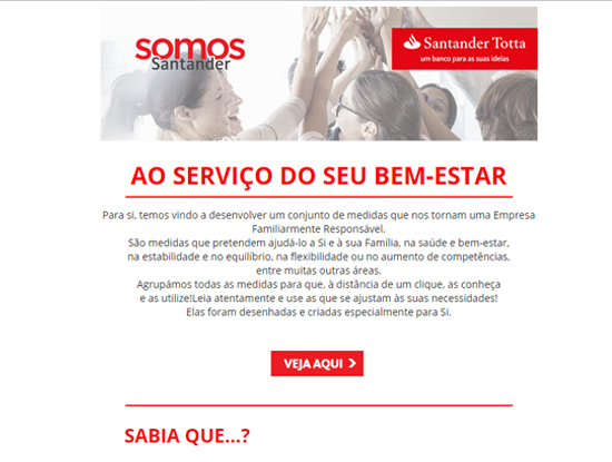 Santander vantagens colaboradores Email Marketing